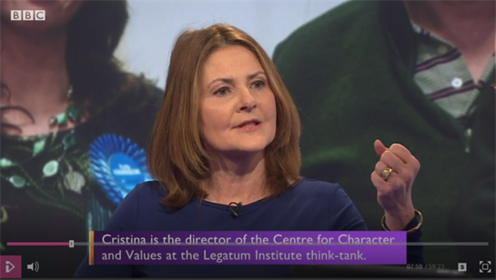 Cristina Odone appears on BBC's Daily Politics as Guest of the Day